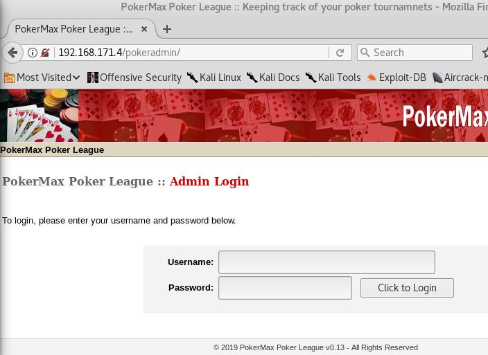Casino Royale VulnHub - PokerMax Admin
