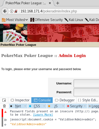 Casino Royale VulnHub - PokerMax Authentication Bypass
