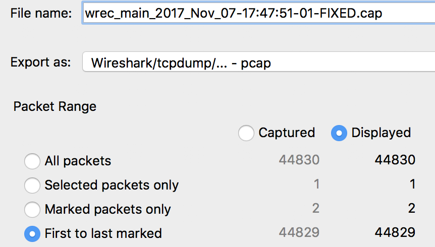 Fixing Corrupted Capture Files - Save Packets