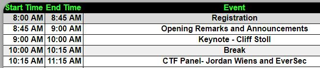 CTFs - BSides Raleigh Schedule