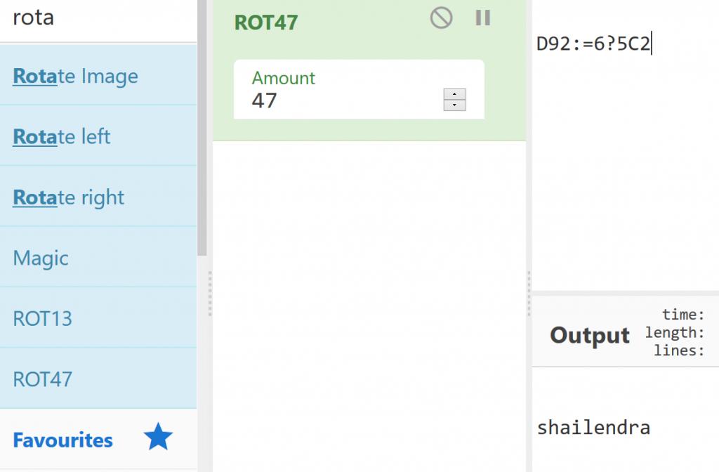 VulnHub CyberSploit 2 - Rot47 username