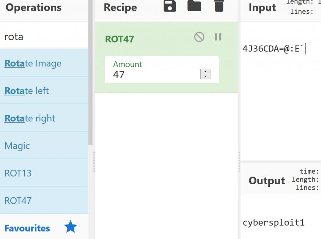 Rot47 password decoding