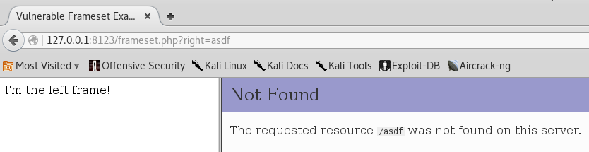 Frameset XSS - Not Found