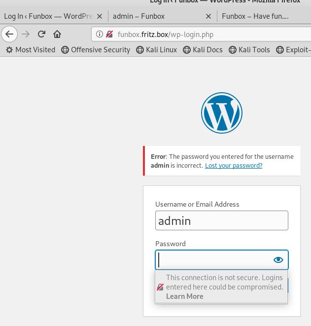 Admin username enumeration