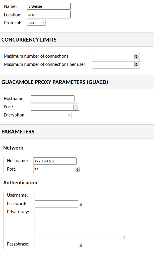 Guacamole Installation - pfSense Connection