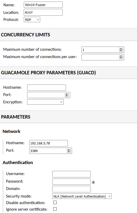 Guacamole Installation - RDP Connection