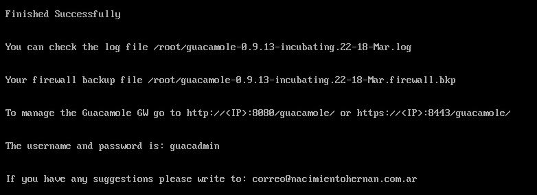 Guacamole Installation - Installation Complete