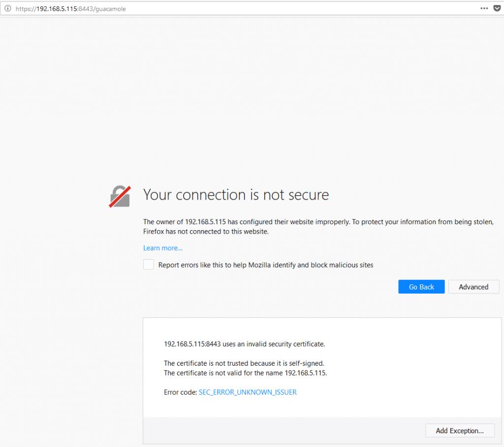Guacamole Installation - SSL Error