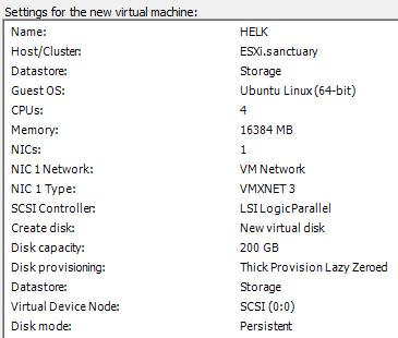 HELK Installation - VM Configuration