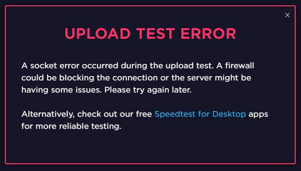 Upload test error