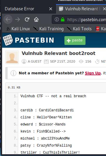VulnHub Relevant - Pastebin credentials