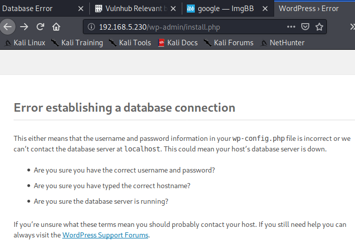 WordPress error page