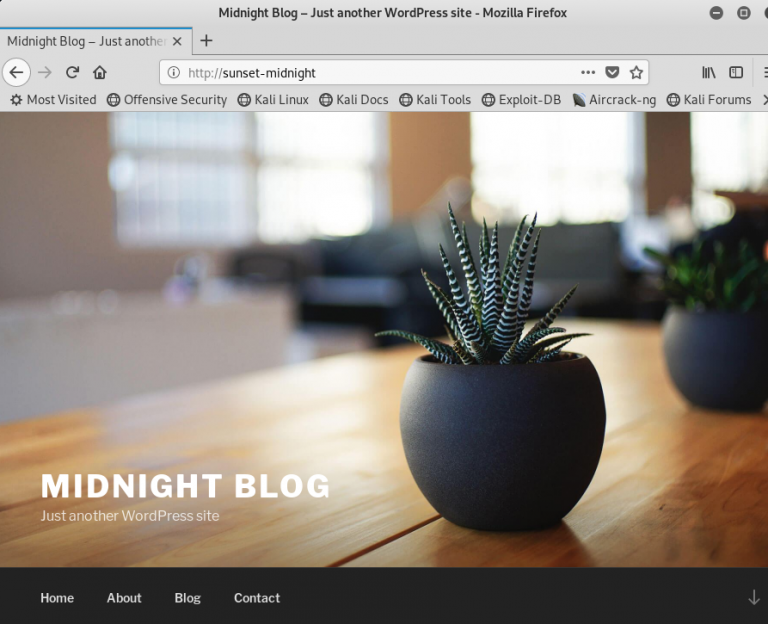 VulnHub Sunset Midnight Walkthrough - Wordpress home page