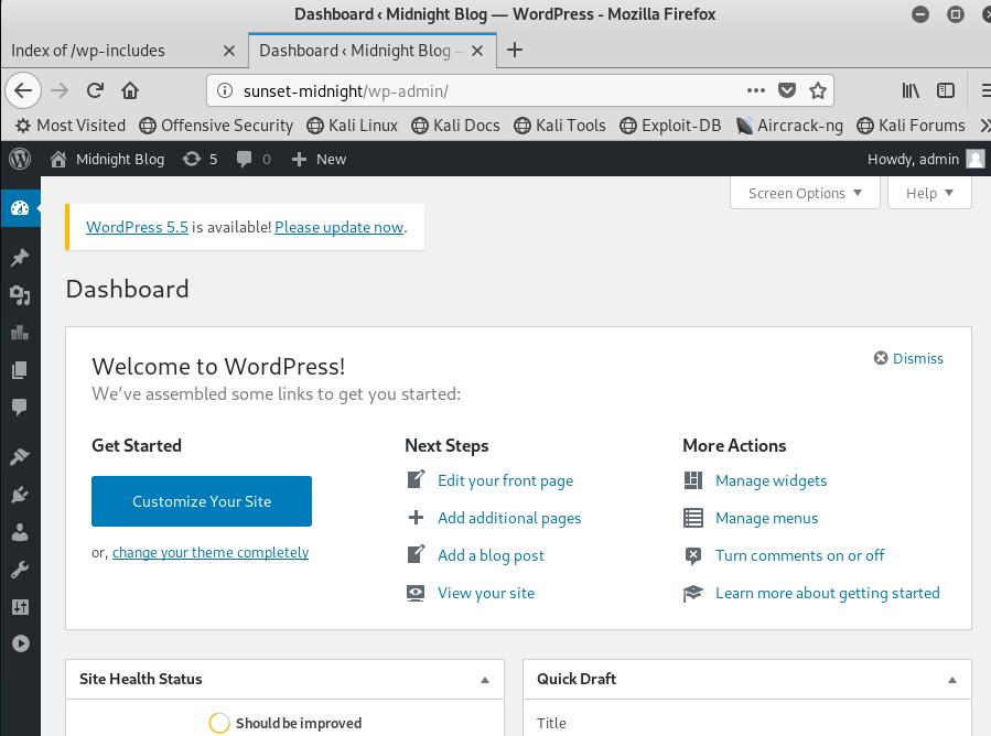 WordPress administrative portal