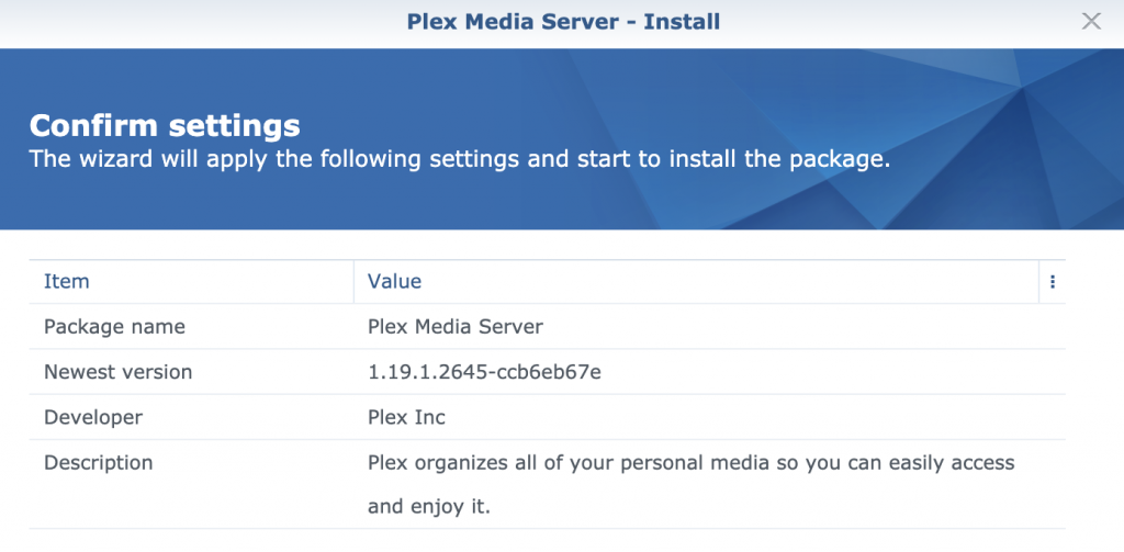 Synology Plex Media Server - Confirm installation