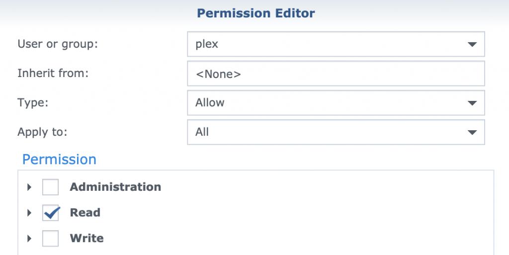 Synology Plex Media Server - Plex permissions