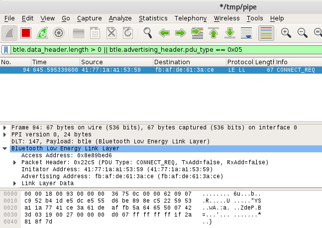 Ubertooth One - Wireshark Capture
