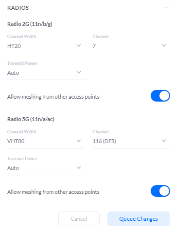 New channel settings
