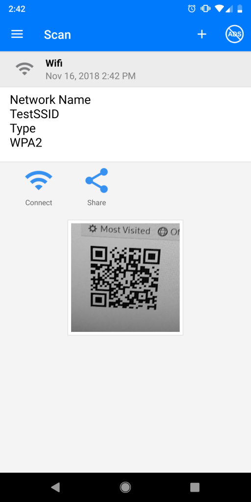 WiFi QR Code - Scanning