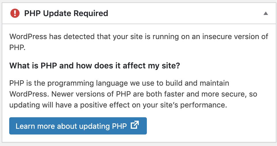 WordPress PHP Update - Update required