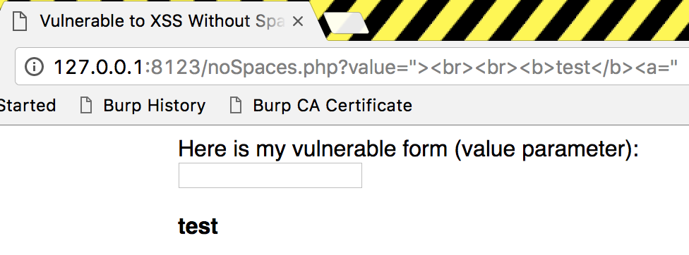 XSS Without Spaces - HTML Injection